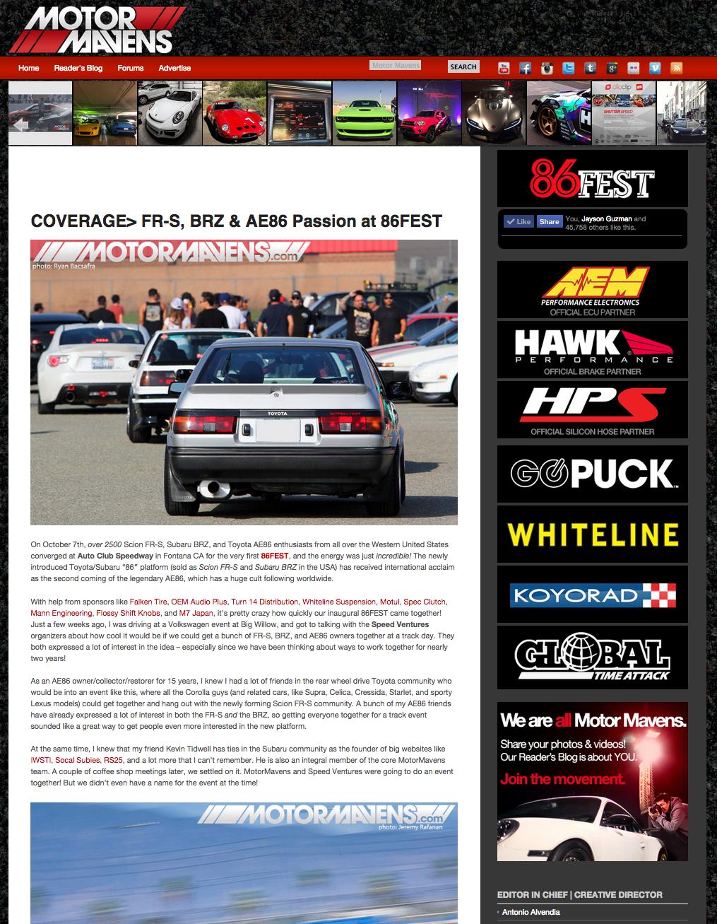 86FEST, AE86, Auto Club Speedway, MotorMavens