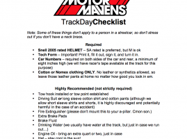 DRIVERS » Track Day Checklist & Tech Inspection Forms